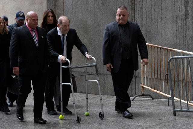 Harvey Weinstein arrives for a court hearing
