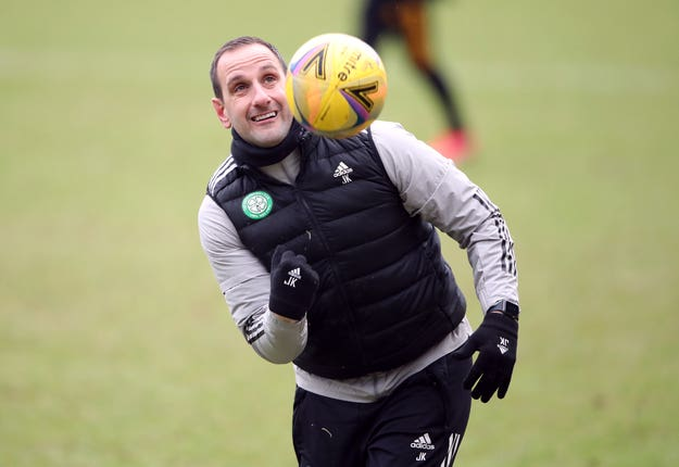 Celtic assistant John Kennedy in training