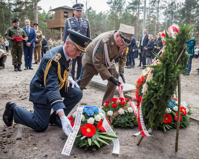 Chief of the Air Staff Sir Stephen Hillier and Lieutenant General Mika of the Polish army lay wreaths at a memorial service held at the former site of Stalag Luft III in Zagan, Poland, to commemorate the 75th anniversary of the Great Escape