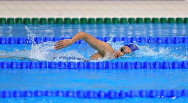 Great Britain's Alice Dearing in action during a heat of the Women's 1500m Freestyle Preliminary during day twelve of the European Aquatics Championships at the London Aquatics Centre, Stratford