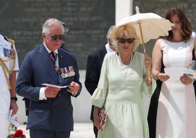 The Prince of Wales and the Duchess of Cornwall during a visit to the Commonwealth War Graves (Andrew Matthews/PA)