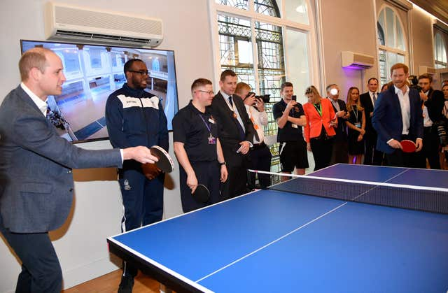 William plays table tennis with Harry (Toby Melville/PA)