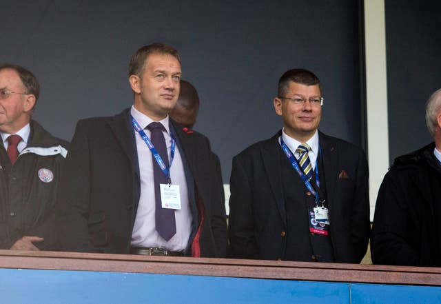 Scottish FA chief executive Ian Maxwell (left) and SPFL chief executive Neil Doncaster (right) have announced a suspension of all football in Scotland