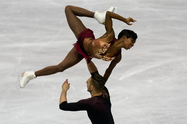 France's Vanessa James and Morgan Cipres during the ISU World Team Trophy Figure Skating competition in Fukuoka, Japan, in 2019
