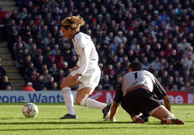 Much-maligned United striker Diego Forlan scored twice in a win a Liverpool, capitalising on an error by Liverpool goalkeeper Jerzy Dudek in December 2002.