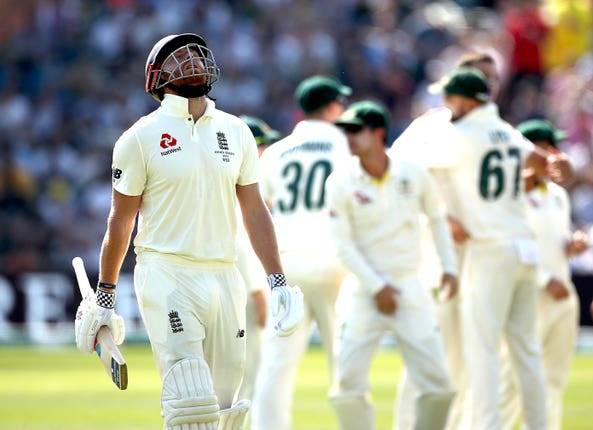After England had batted themselves into a solid position, Jonny Bairstow's dismissal for 36 opened the door for Australia who soon had England nine wickets down, still 73 runs short of their victory target