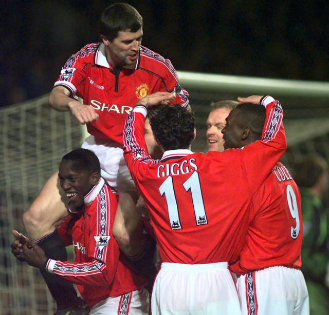 United were also triumphant the following year, Dwight Yorke (lower left) scoring both goals in 2-0 sixth round replay win at Stamford Bridge