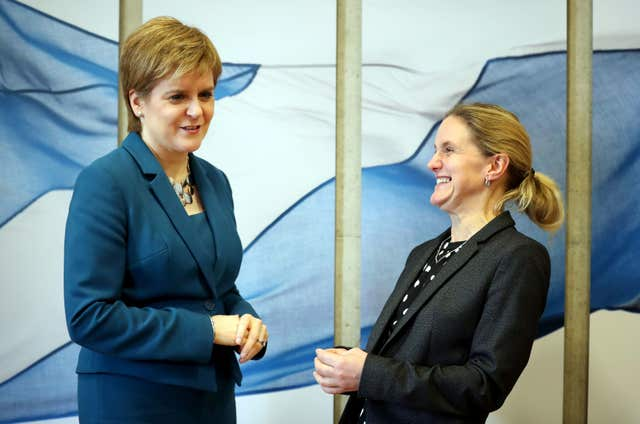 Jo Cox's sister Kim Leadbeater (right) meets First Minister Nicola Sturgeon (Jane Barlow/PA)