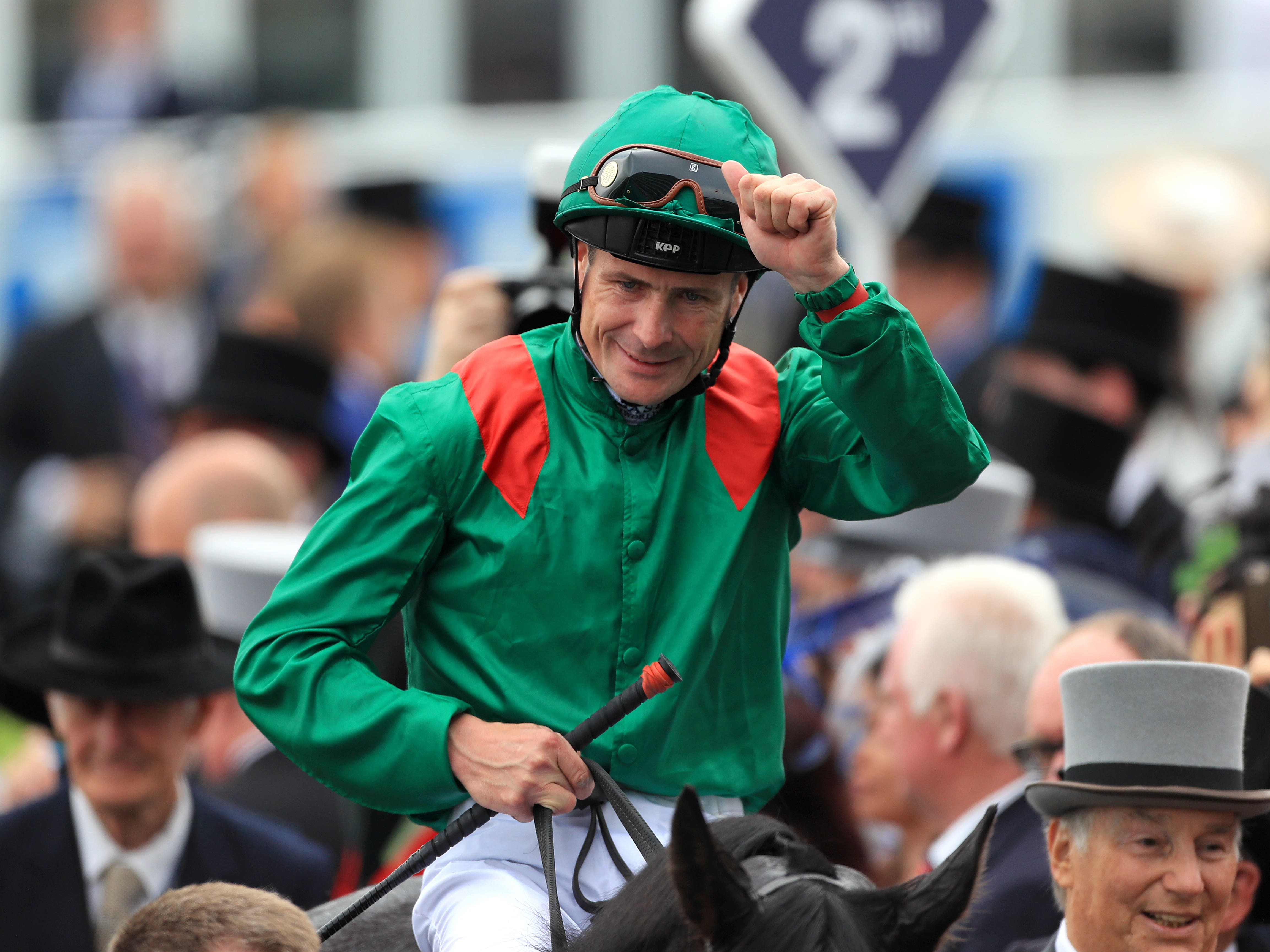 Pat Smullen after winning the Derby with Harzand (David Davies/PA)