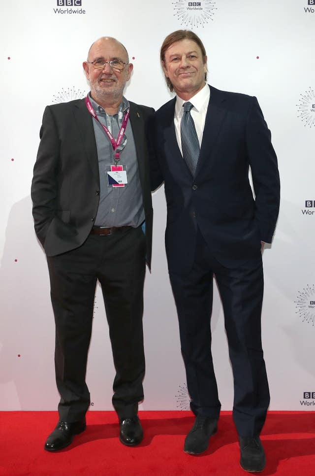 Writer Jimmy McGovern, left, with Sean Bean