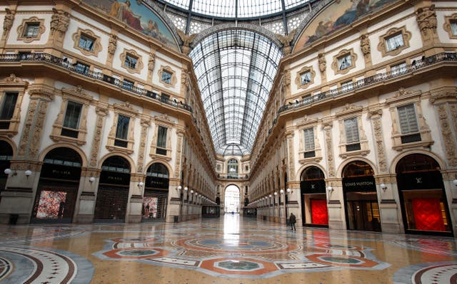 The empty Vittorio Emanuele II gallery shopping arcade, in Milan