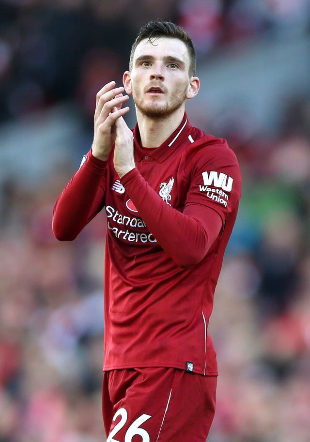 Andy Robertson played for Liverpool on Sunday