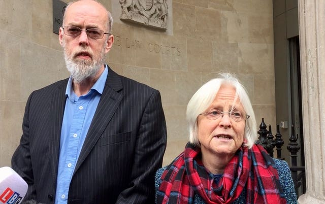 Alison and Ken Orchard, the parents of Thomas Orchard, at a previous hearing (Claire Hayhurst/PA)
