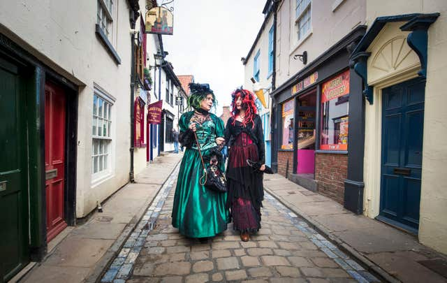 Goths walk the old streets of Whitby (Danny Lawson/PA)
