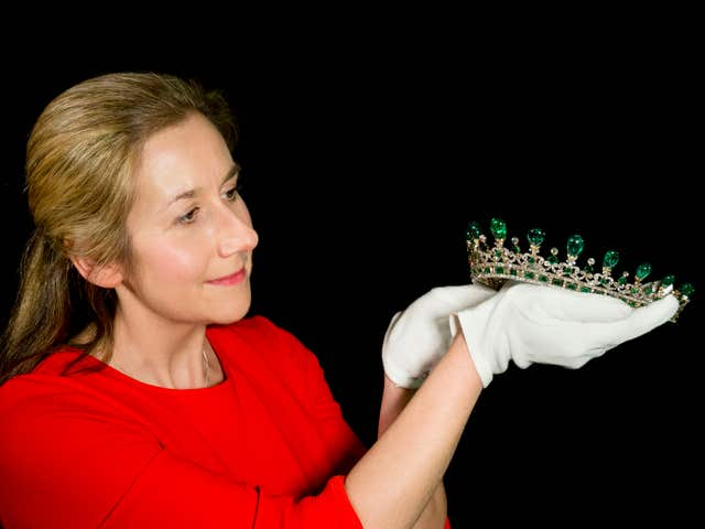 A Historic Royal Palaces conservator preparing Queen Victoria's diamond and emerald diadem (Historic Royal Palaces/Todd-Whit/PA)