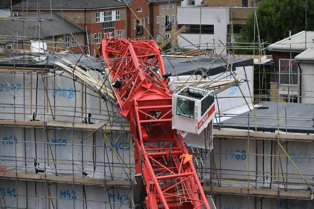 The scene in Bow, east London, where a 20-metre crane has collapsed on to a house