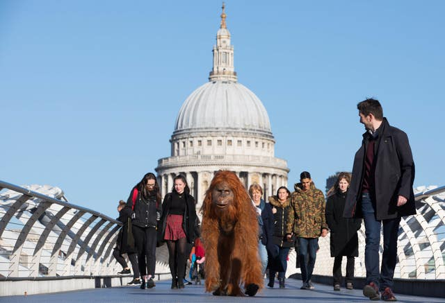 The animatronic orangutan joined Londoners in the capital (David Parry/PA)