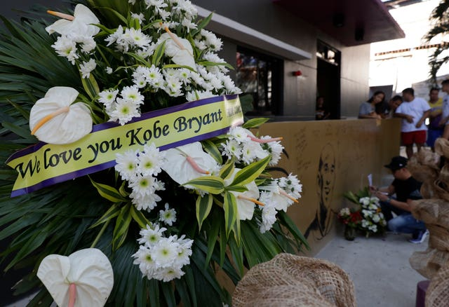 "Flowers were left at the ""House of Kobe"" basketball court in Valenzuela"