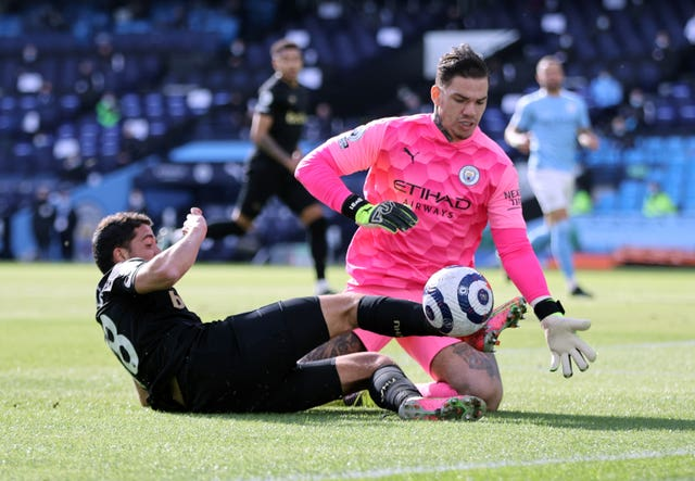 Ederson, right, denies West Ham's Pablo Fornals