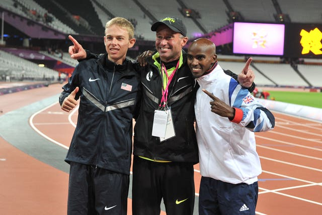 Sir Mo Farah, right, pictured with Salazar, centre, and Galen Rupp, left