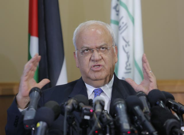 Saeb Erekat during a press conference in Ramallah