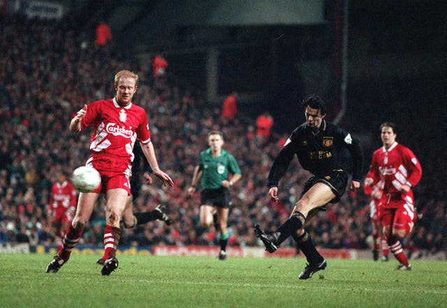 Ryan Giggs (right) scored at Anfield as United raced into a three-goal half-time lead only for Liverpool to fight back and draw 3-3.