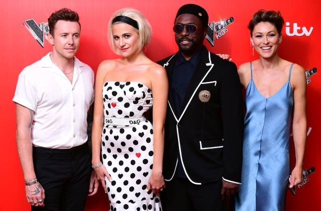 Danny Jones (left), Pixie Lott (second left), Will.i.am, and Emma Willis