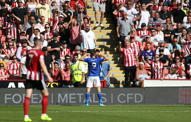 Sheffield-born Jamie Vardy gets gets acquainted with the Sheffield United fans after scoring in Leicester's win