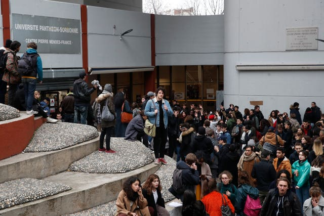 Students gather at the closed Tobiac university in Paris