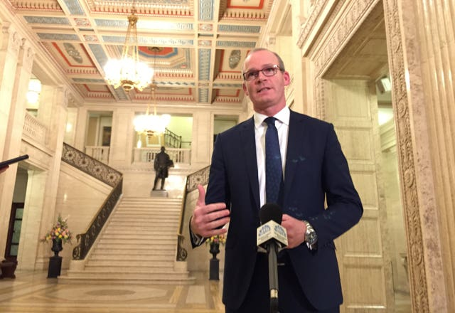 Ireland's deputy premier Simon Coveney at Stormont, Belfast