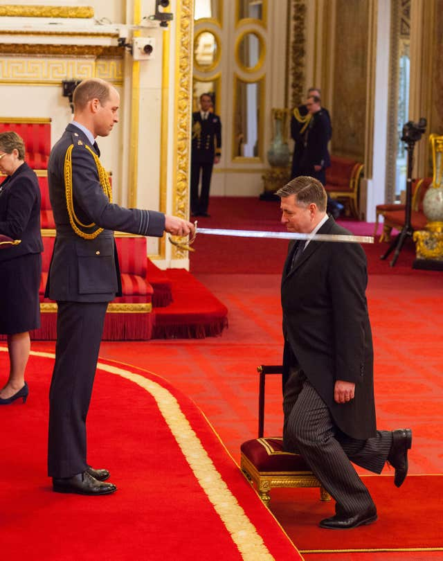 Sir Graham Brady is made a Knight Bachelor of the British Empire by the Duke of Cambridge  (Dominic Lipinski/PA)