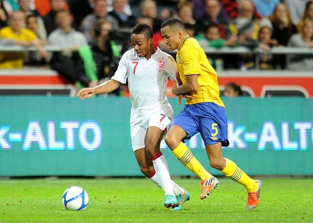 Raheem Sterling battling for the ball during his England debut at the Friends Arena in Stockholm in November 2012.