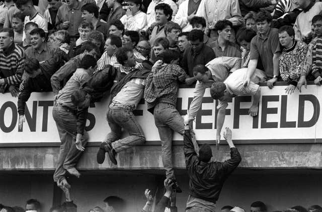 Deadly overcrowding at Hillsborough in 1989, which would claim the lives of 96 people.