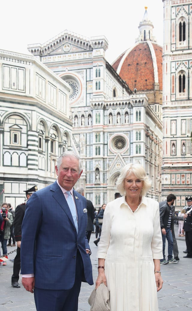 The Prince of Wales and the Duchess of Cornwall during a walkabout in Florence, Italy (Chris Jackson/PA)