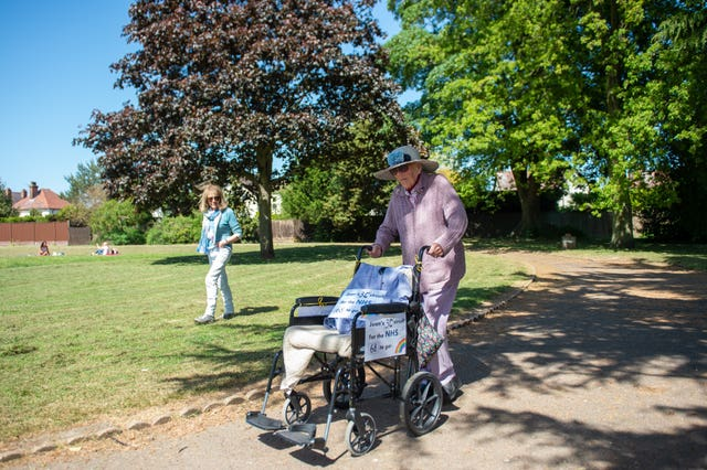 Joan Rich walking through Allenby Park in Felixstowe, Suffolk