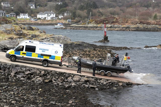 This underwater unit boat enters the water on Loch Fyne (Andrew Milligan/PA)