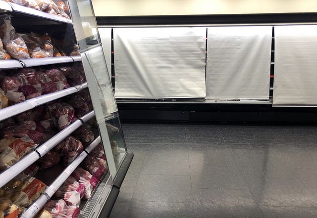 Depleted shelves at a supermarket in Dublin