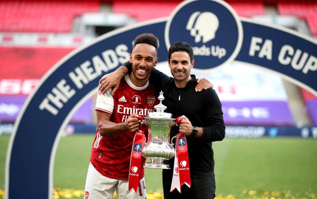 Mikel Arteta (right) always said he was confident that Aubameyang would sign a new contract.