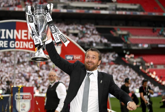 Fulham manager Slavisa Jokanovic celebrates after the Championship play-off final at Wembley. (PA)