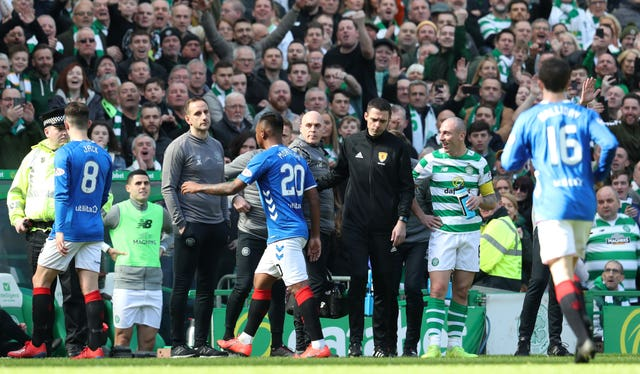 Alfredo Morelos leaves the pitch after being sent off against Celtic
