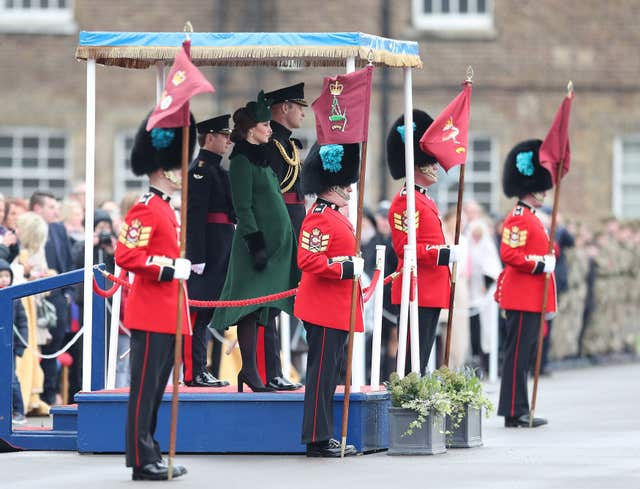 The Duchess of Cambridge and the Duke of Cambridge attend the Irish Guards St Patrick's Day parade (Jonathan Brady/PA)