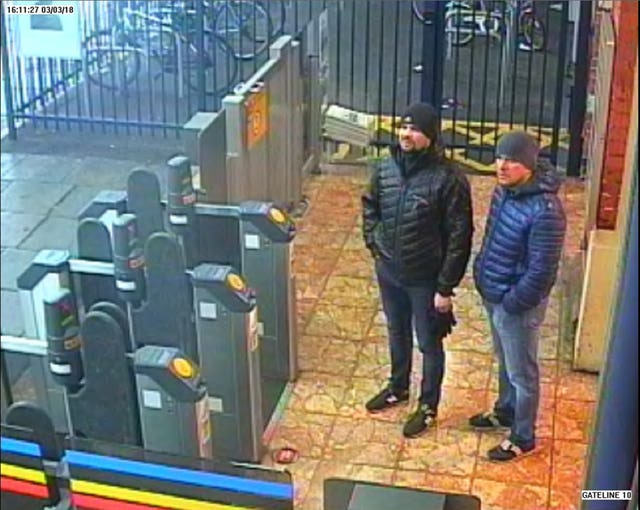 CCTV image issued by the Metropolitan Police of Russian Nationals Ruslan Boshirov and Alexander Petrov at Salisbury train station (Metropolitan Police/PA)