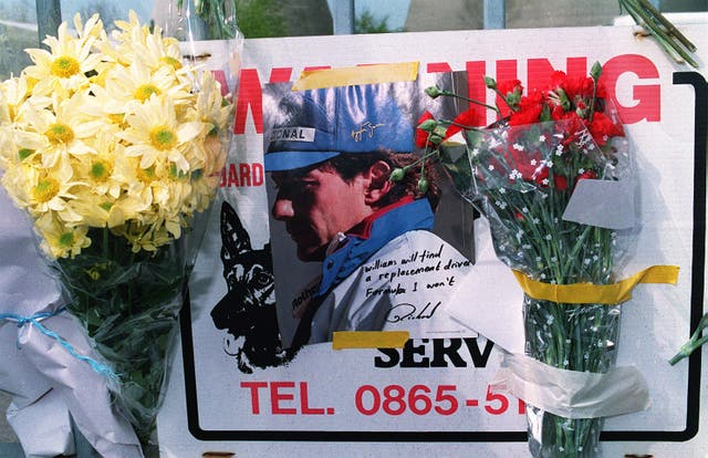 A floral tribute to Ayrton Senna in Imola