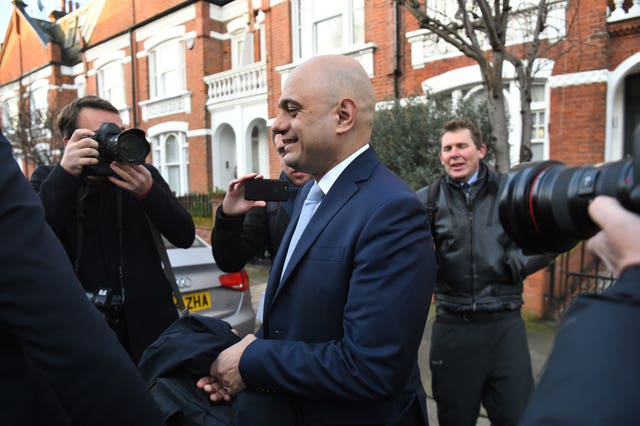 Former cancellor Sajid Javid leaving his home following the Cabinet reshuffle