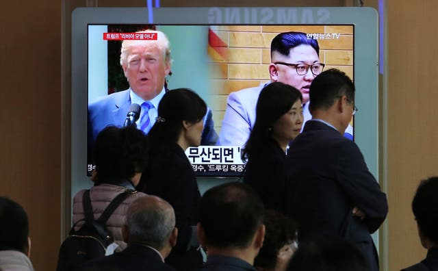 Donald Trump and Kim Jong Un are due to meet on June 12 (Ahn Young-joon/AP)