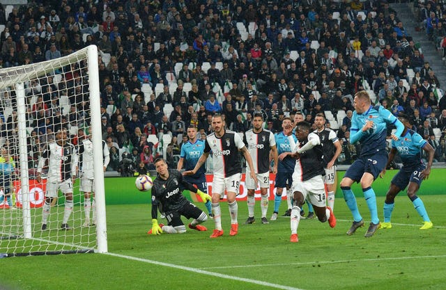 Josip Ilicic, front right, puts Atalanta ahead