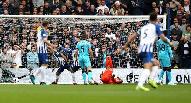 Hugo Lloris was injured after his error led to Brighton's opener