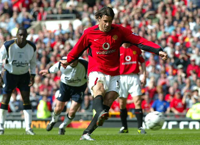 Ruud van Nistelrooy scored two penalties as United beat 10-man Liverpool 4-0 in April 2003.