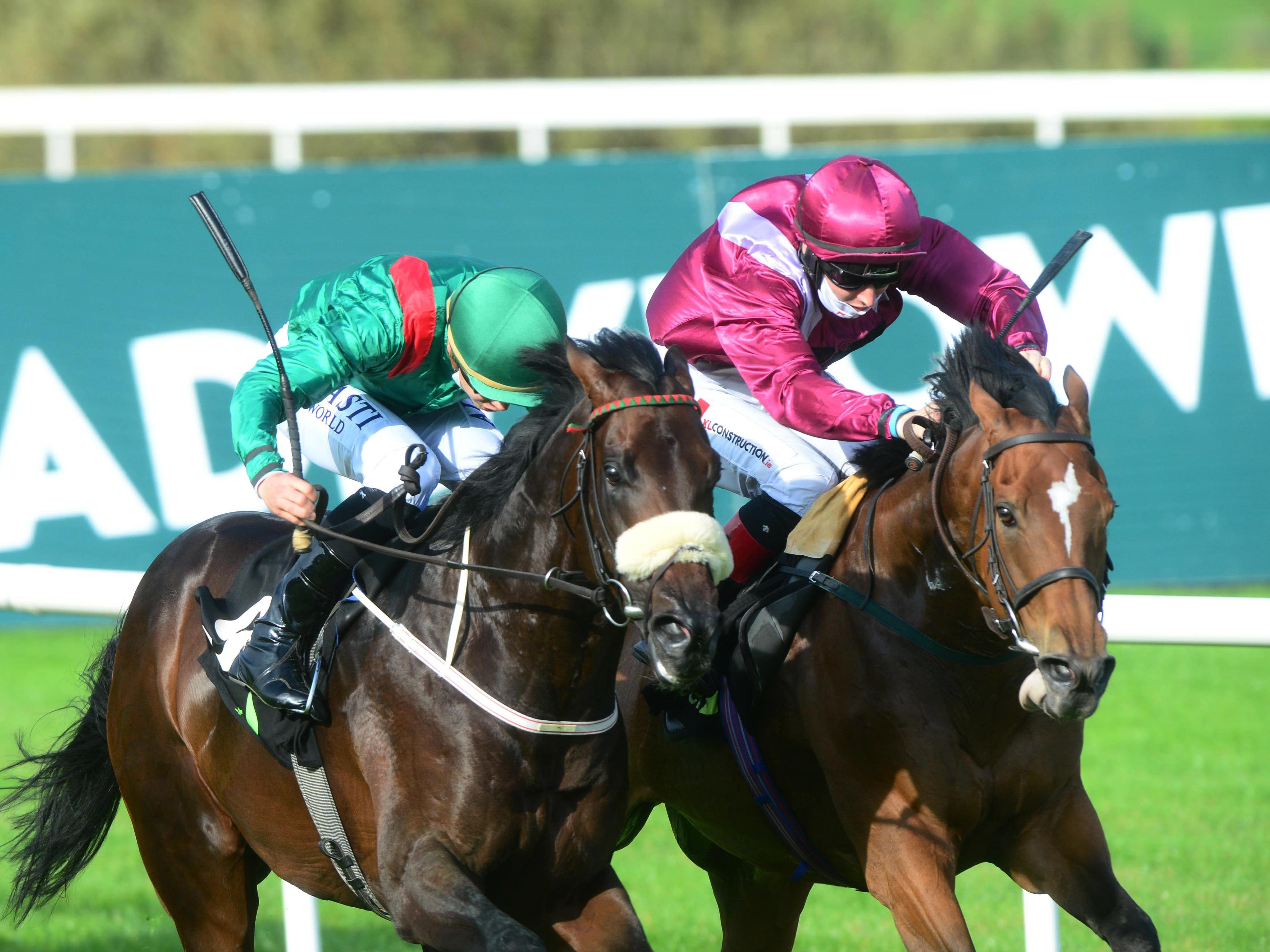 Safe Voyage (right) wins a thrilling renewal of the Boomerang Stakes at Leopardstown (PA)