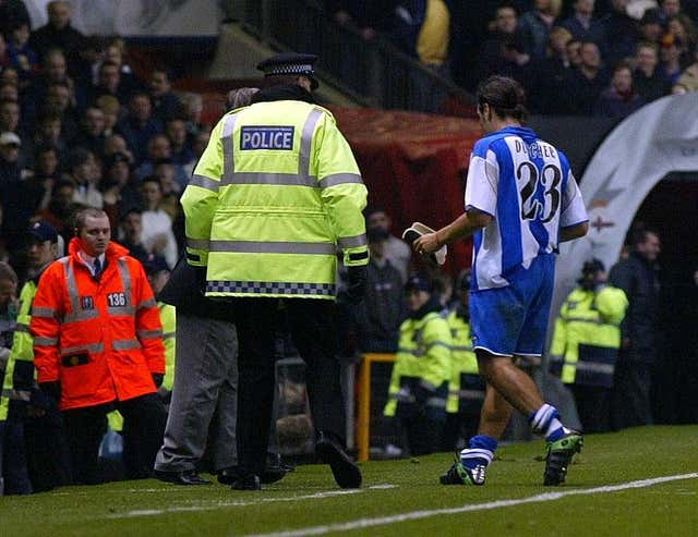 Aldo Duscher avoided a booking for his challenge on David Beckham, but would go onto be sent off for two yellow cards in that match